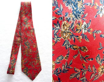 Flower print red silk tie from Italy