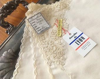 NOS - 4 French linen and lace napkins
