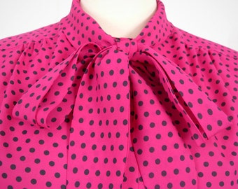 Lady Manhattan pink with black polka dots pussybow blouse