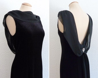 Black velvet and veil evening halter dress
