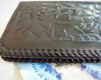 Black embossed leather wallet, vegetal patterns - personalized JC