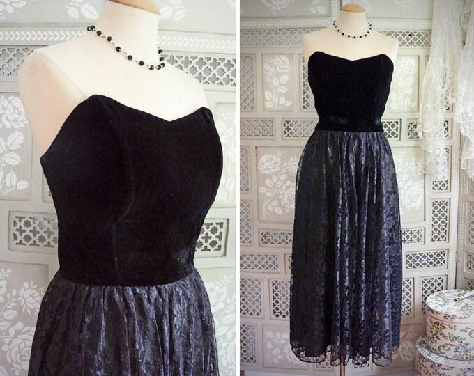Strapless sweetheart maxi bouffant dress, black velvet and lace