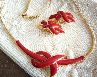 Necklace & earrings jewelry set - Red and gold knot