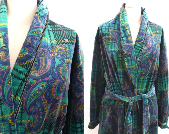 Long velvet night robe / gown, tartan and paisley print -  - Neiman Marcus Diamond Tea