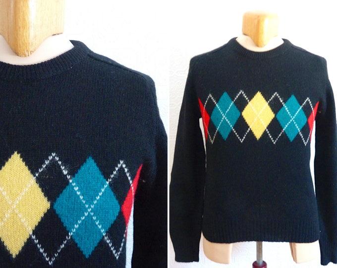 100 % pure Shetland virgin wool black sweater / knit - diamond-shape pattern
