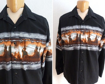 Black western shirt - cowboys print - PANHANDLE SLIM