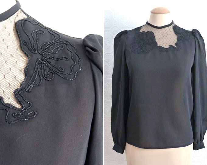 Black chiffon blouse with lace and embroidery