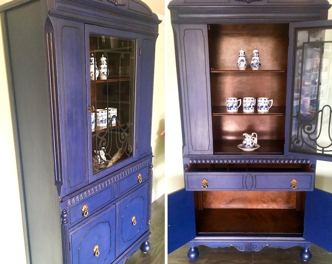 Liberty blue upcycled vintage wood china cabinet