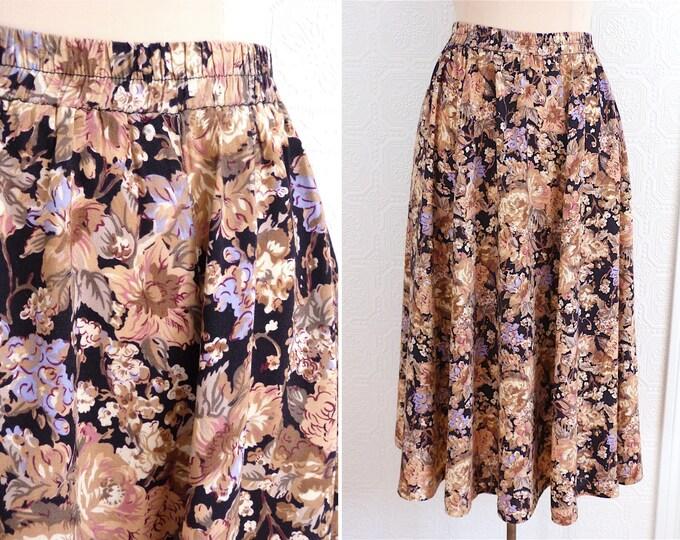 Flower print cotton full midi skirt