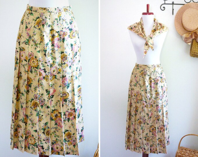 Flower print matching skirt and scarf