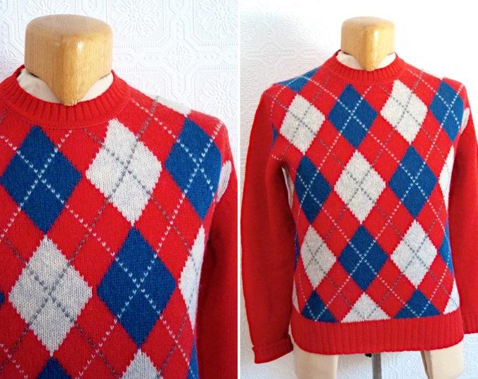 100 % pure Shetland virgin wool red sweater / knit - diamond-shape pattern