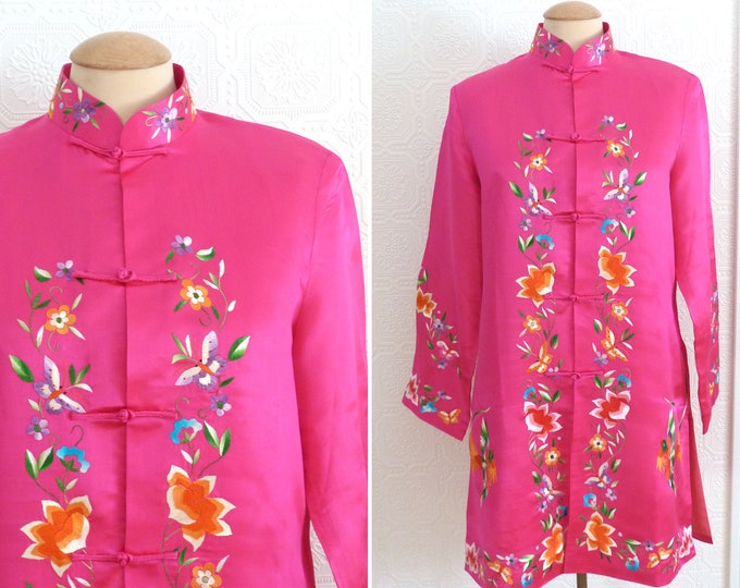 Pure silk Chinese embroidered tunic blazer