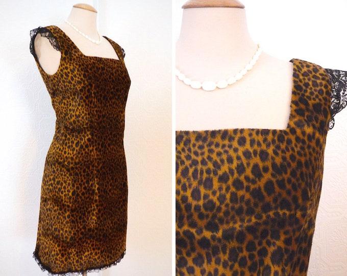 Faux fur and lace leopard dress