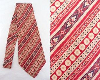 Red and beige retro print Kipper tie - Brummell