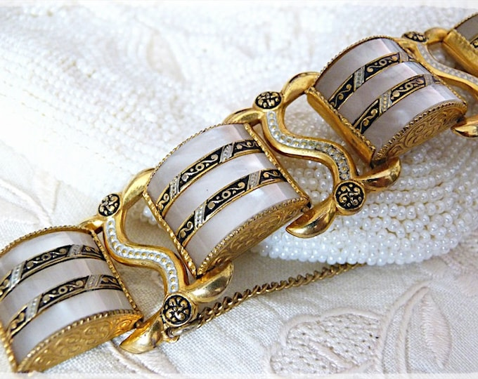 Spanish faux damascene and mother of pearl bracelet