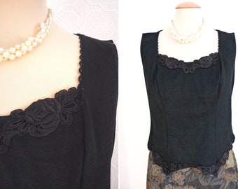 Black stretch camisole with lace