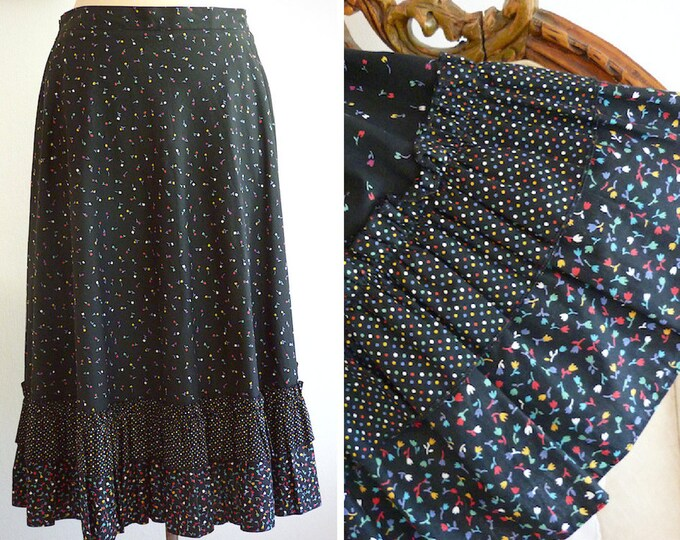 Flower print cotton flare skirt with frills
