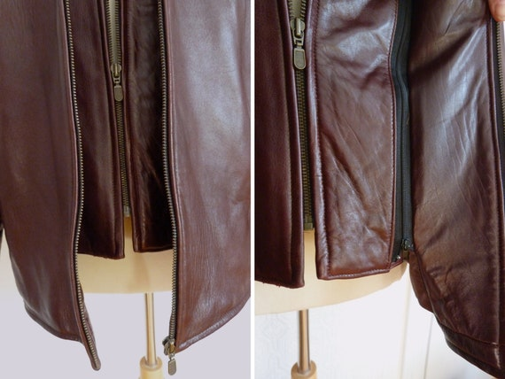 Men genuine leather flight jacket, removable lini… - image 6