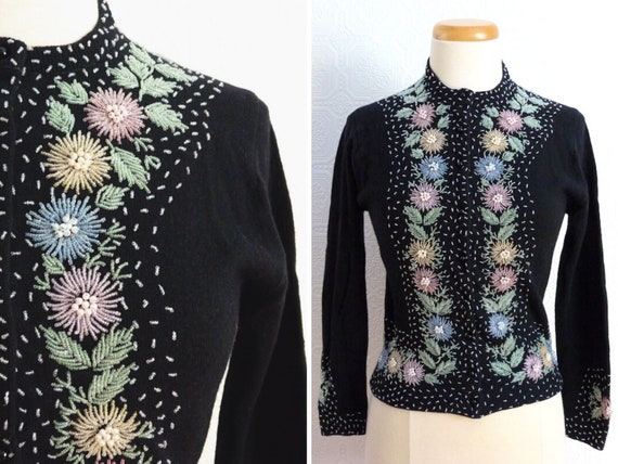 Pearl embroidered wool cardigan