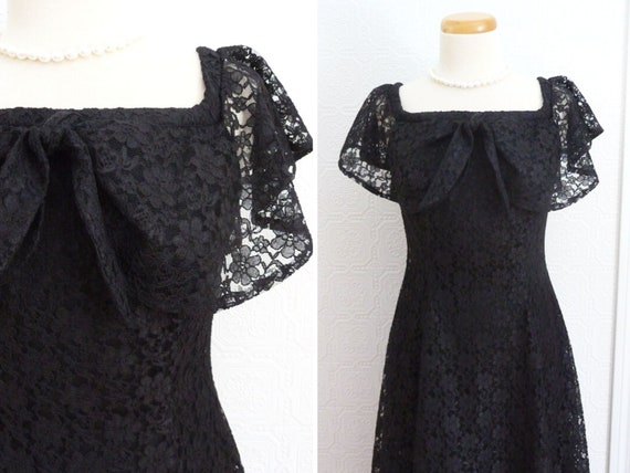 Long black lace dress, shawl collar