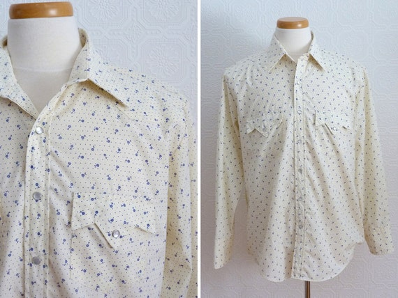1970s Western style small flowers print shirt