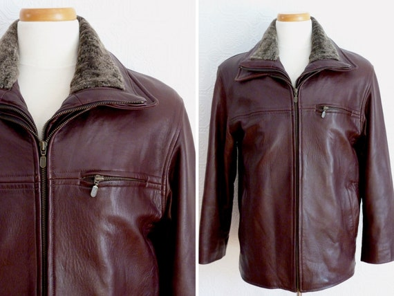 Men genuine leather flight jacket, removable lini… - image 1