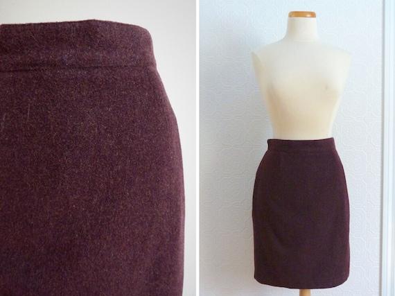 BENETTON plum-colored wool short skirt
