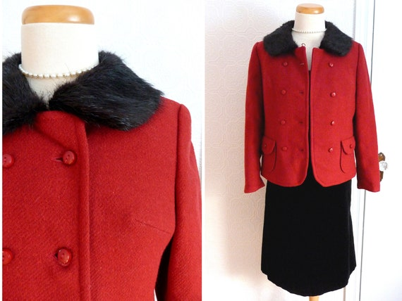 1950s red wool jacket with fur collar