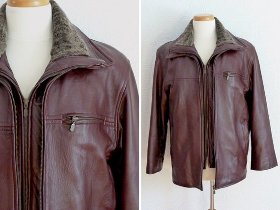 Men genuine leather flight jacket, removable lini… - image 4