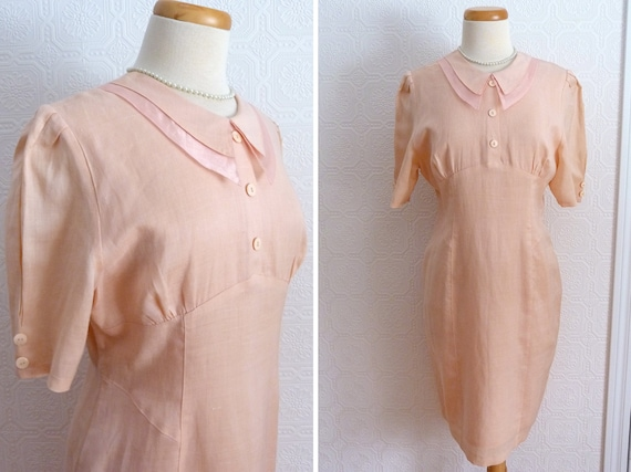 1980s Peter Pan collar peach linen dress