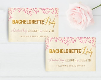 items similar to double sided bachelorette party save the dates or
