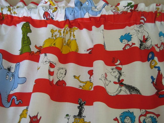 Red Dr Suess Cat and the Hat Curtain Valance