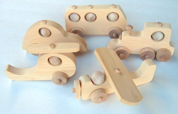 5 Wooden Craft Kits Plane Train Car Bus Helicopter All Five Models