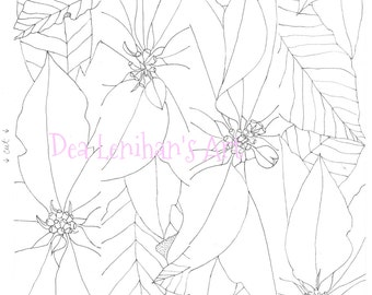 christmas poinsettia coloring page instant download