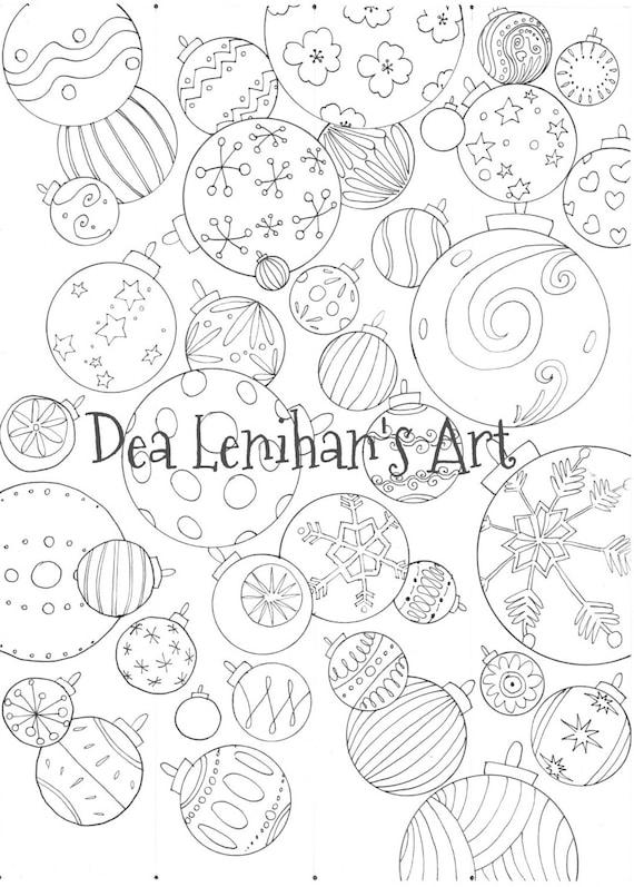 Bolas de Navidad guirnalda página para colorear descarga | Etsy