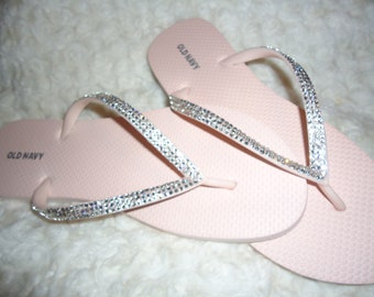 85b6290e7a6ec4 Light Pink Flip Flops With Crystals-Three Rows