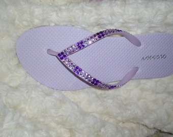 c7c2019201952 Light Purple Flip Flops With Dark Purple Crystals