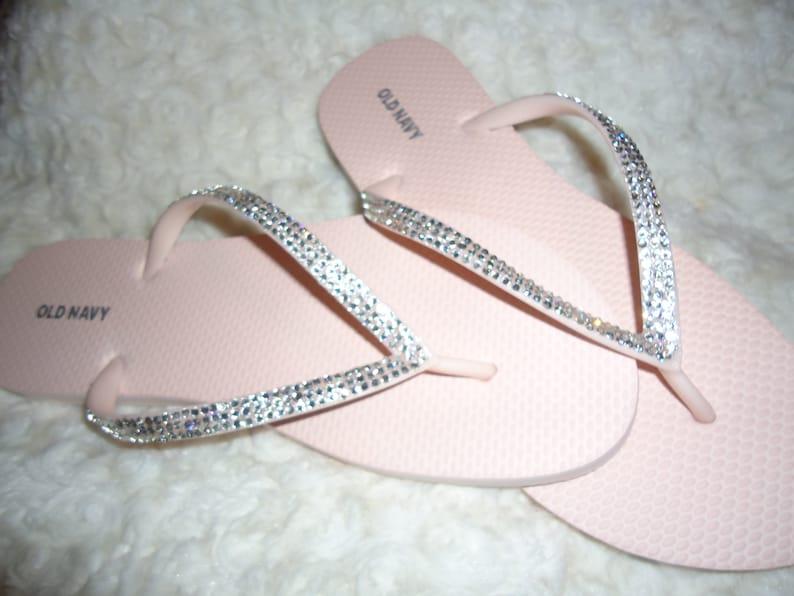 58c73a942edb Light Pink Flip Flops With Crystals-Three Rows