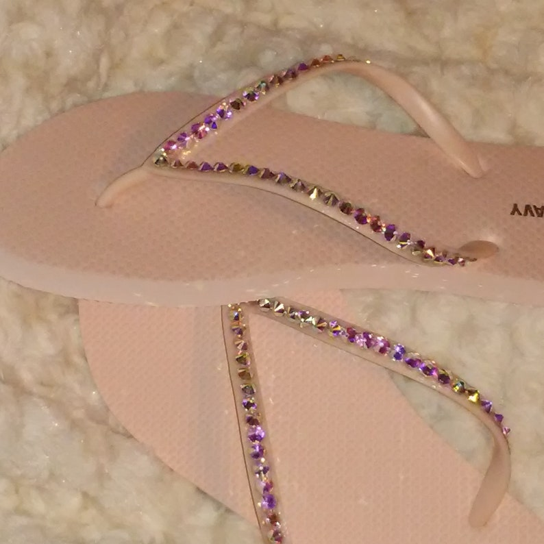 76626355a31b Light Blush Pink Flip Flops With AB Crystals One Row
