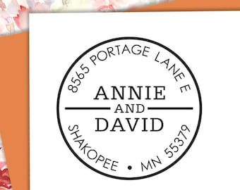 Self-inking CUSTOM STAMP, Pre Inked/self-inking, Address Stamp, Custom Address Stamp, Housewarming Gift, library or business stamp, Circle 1