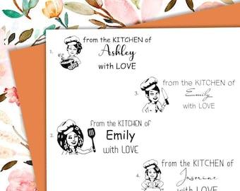 CHEF-Bitmoji Self-inking, pre-inked CUSTOM STAMP, Address Stamp, Custom Address Stamp, Housewarming Gift, library/business stamp, D5-14