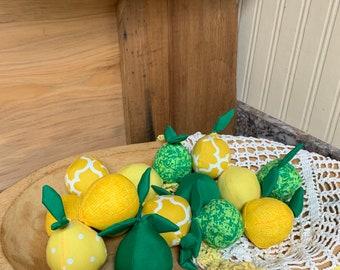 Lemon Lime summer fabric wrapped balls set of 6