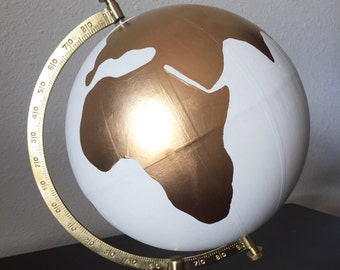 """Hand Painted 12"""" Wedding Globe, Hand Lettering, White and Gold, Wanderlust -- Custom Made To Order"""