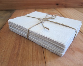 "White Handmade paper sheets, Recycled paper, Homemade paper, Eco friendly paper, Natural Writing paper, 20 sheets 4 1/4"" x 6"" (10.5 x 15cm)"