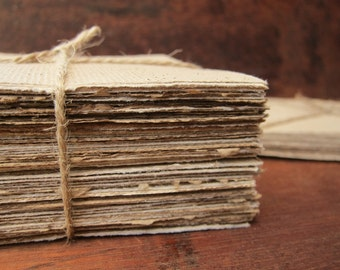 """Handmade coffee paper, Recycled paper sheets, 24 Handmade paper squares, Homemade paper, Textured paper, Natural paper, 4"""" x 4"""" (10 x 10cm)"""