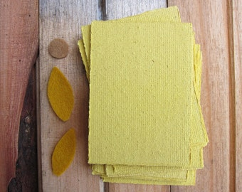 """16 Turmeric Handmade paper sheets, Recycled paper, Decorative paper, Beautiful paper, Homemade paper, Craft paper, 3"""" x 4"""", (7.5cm x 10.5cm)"""