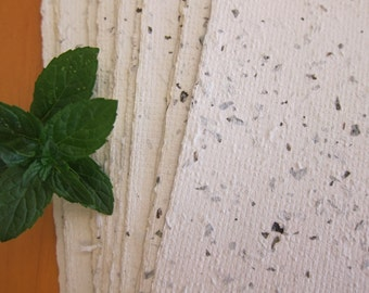 """Organic Peppermint Herb paper / 4 Handmade paper sheets / Recycled paper / Leaf paper / Ecofriendly paper / 6"""" x 8.5"""" / 15cm x 22cm"""