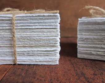 """30 Handmade Recycled paper sheets, Homemade paper, Ecofriendly paper, Natural White paper, Writing paper, Craft paper, 3.5"""" x 3.5"""" (9 x 9cm)"""