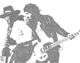 Bruce Springsteen Lyric Poster Print - 24x36 - Handmade with Lyrics - Black and White - The Boss - New Jersey - Born to Run - Stoki Design