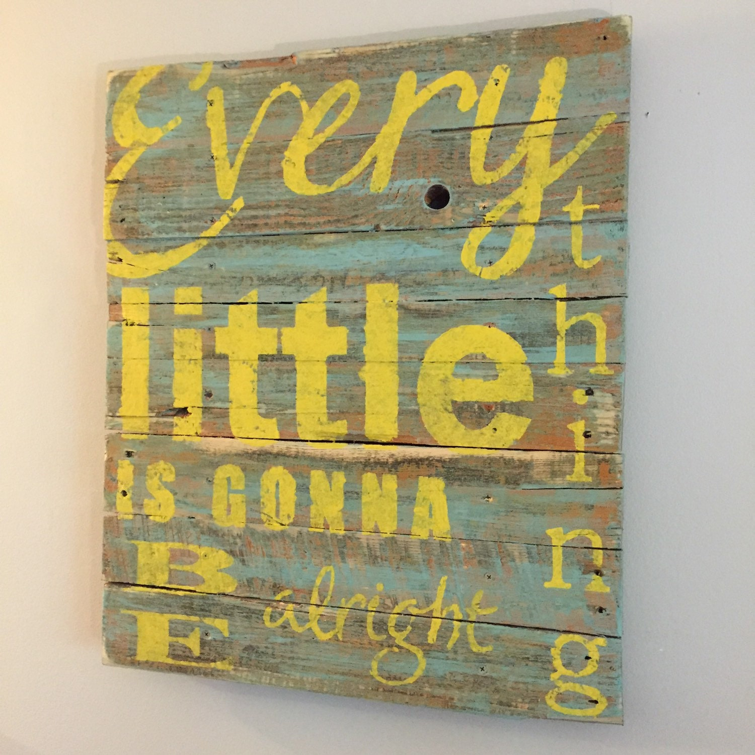 Beach Decor Every Little Thing is Gonna Be Alright Reclaimed Pallet ...